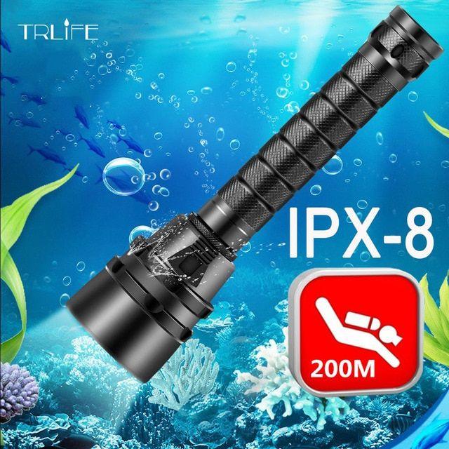 Professional Scuba Diving Flashlight 18650 Powerful Dive Light LED Lamp Aluminum