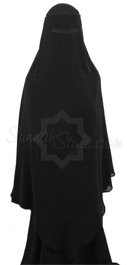 Extra Long Diamond Niqab (Black) by Sunnah Style #SunnahStyle #niqabstyle #niqaab