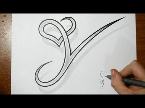 drawing letter y with heart combined cool tattoo design idea youtube anime pinterest. Black Bedroom Furniture Sets. Home Design Ideas