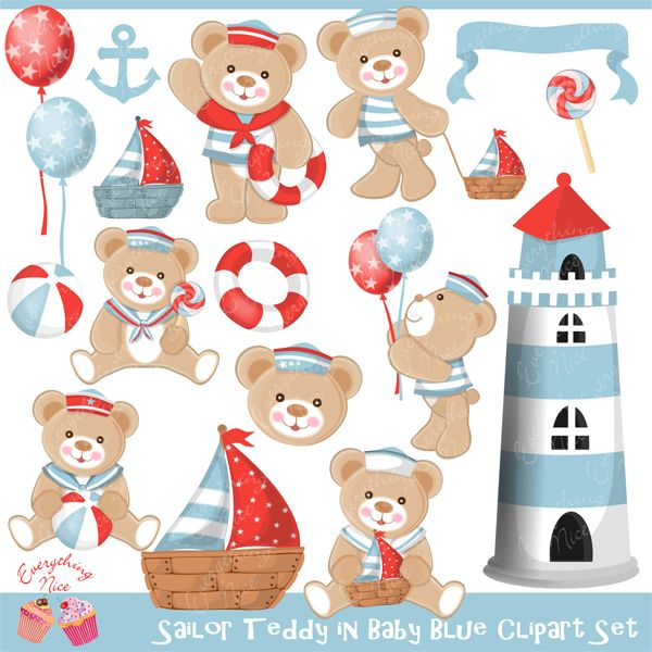 Sailor Teddy in Baby Blue Color Clipart Set