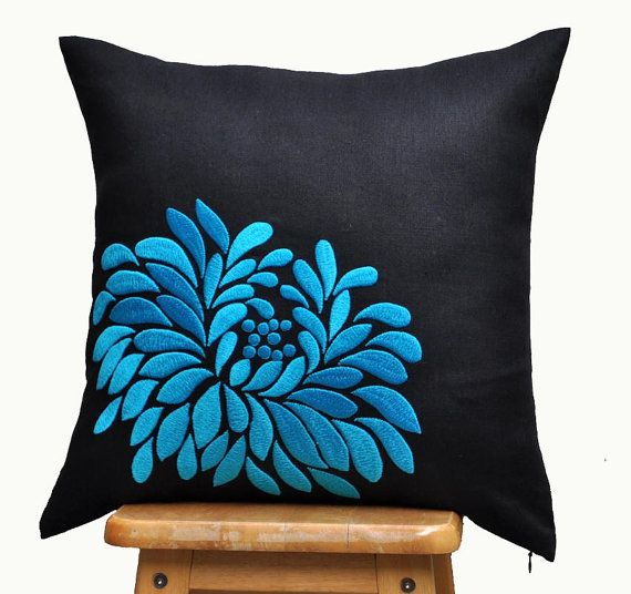 Blue Dahlia Throw Pillow Cover Black Accent Pillow от KainKain