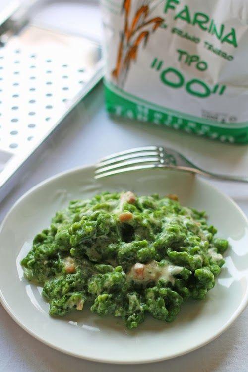 Le mie ricette con e senza: Spatzle agli spinaci senza uova con panna e pancet...