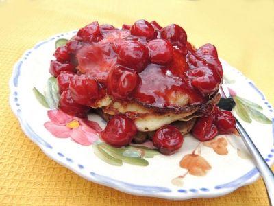 Almond Pancakes with Cherry Sauce | Almonds | Pinterest