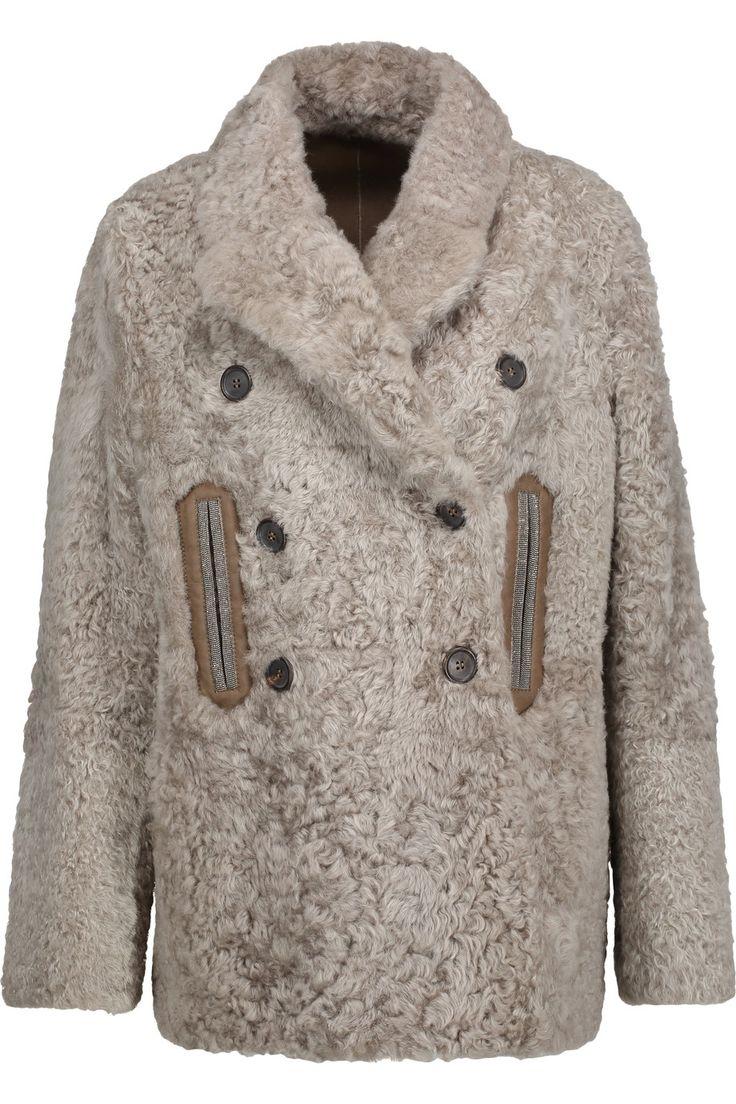 BRUNELLO CUCINELLI Bead-embellished shearling coat. #brunellocucinelli #cloth #