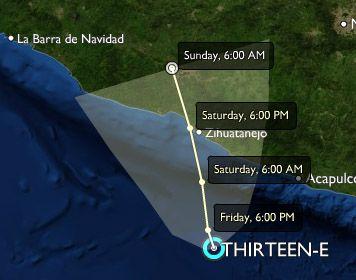 Clima en el Pacífico: se acaba de formar la Depresión tropical 13-E muy cerca de Acapulco