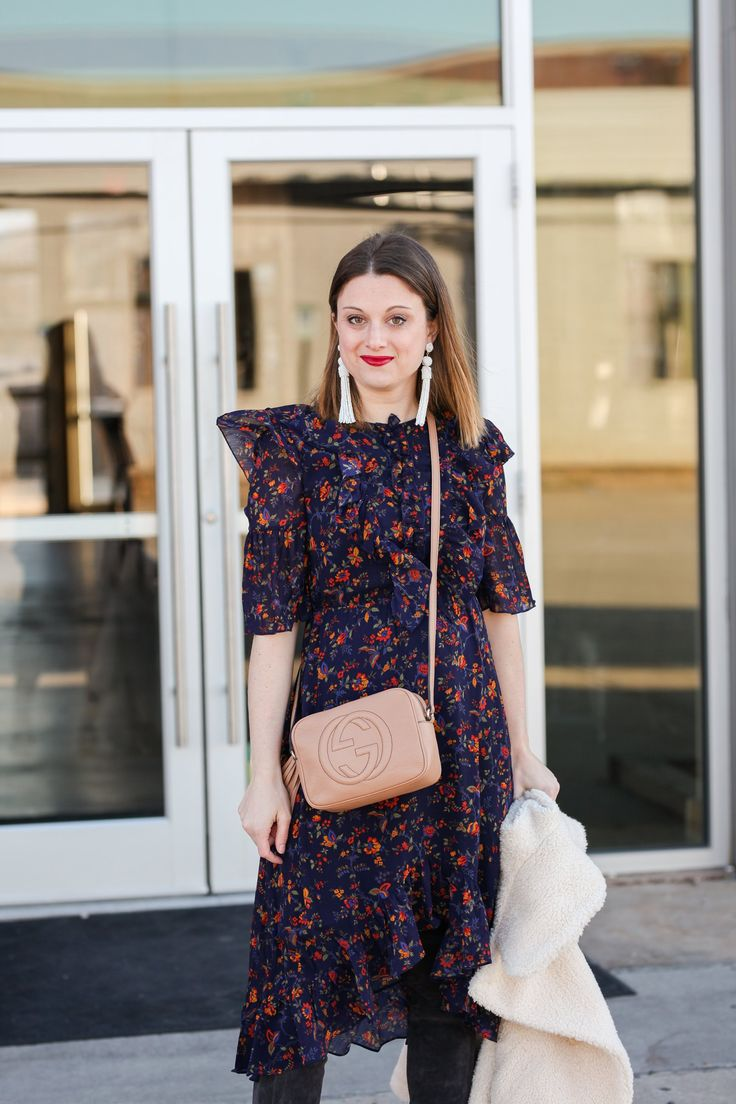 Wearing Florals for Winter: Floral Winter Dress Outfit