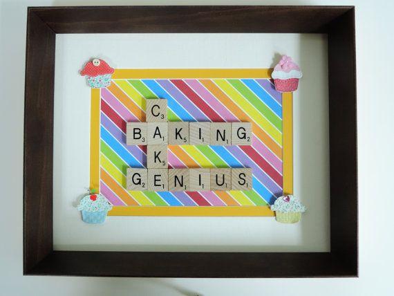Scrabble Art multicoloured 'Cupcake' baking by SpellingBeeArt