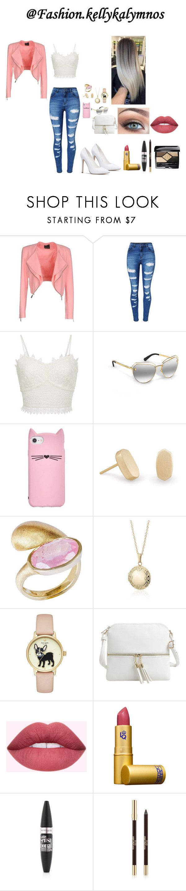 """""""March 2018"""" by fashion-kellykalymnos on Polyvore featuring Pinko, WithChic, Kate Spade, Kendra Scott, Yvel, Blue Nile, Epic Chic, Lipstick Queen, Maybelline and Christian Dior"""