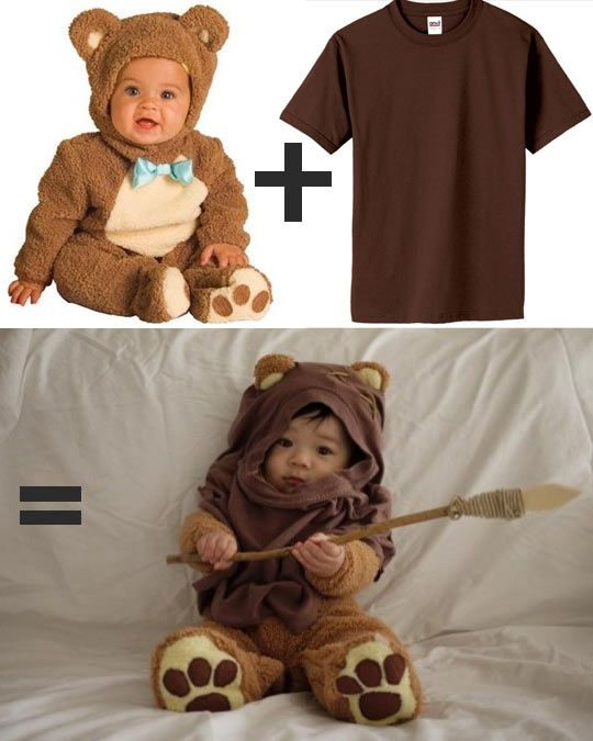 How to make the cutest baby costume in the galaxy!  It totally looks like a regular shirt he's wearing as the hood, with some added details.  This kid has great parents.  I hope he knows that.