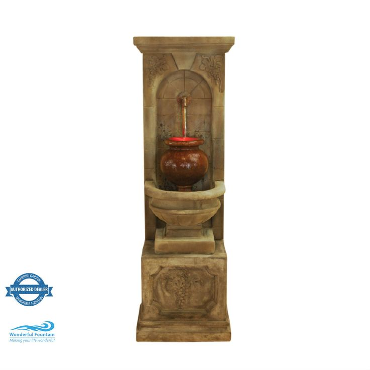 St. Helena Urn Fountain With Rustic Iron Spouts, Pump and LED Light