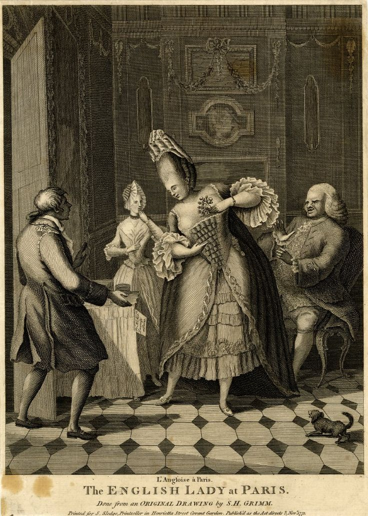 Satire: a French footman drops the letter he is carrying in amazement at the sight of a huge English woman in macaroni garb with her maid and husband in a Parisian apartment.  5 November 1771 Etching