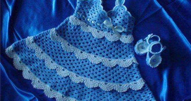Mavi askılı kız çocuk elbisesi - Bebek Çocuk Elbiseleri