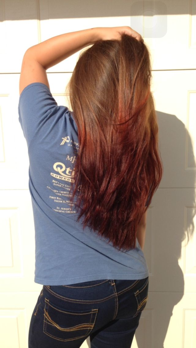 Long red dip dye hair
