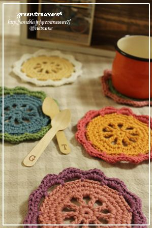ほっこりカラフルなお花のコースターの作り方 編み物 編み物・手芸・ソーイング ハンドメイドカテゴリ アトリエ