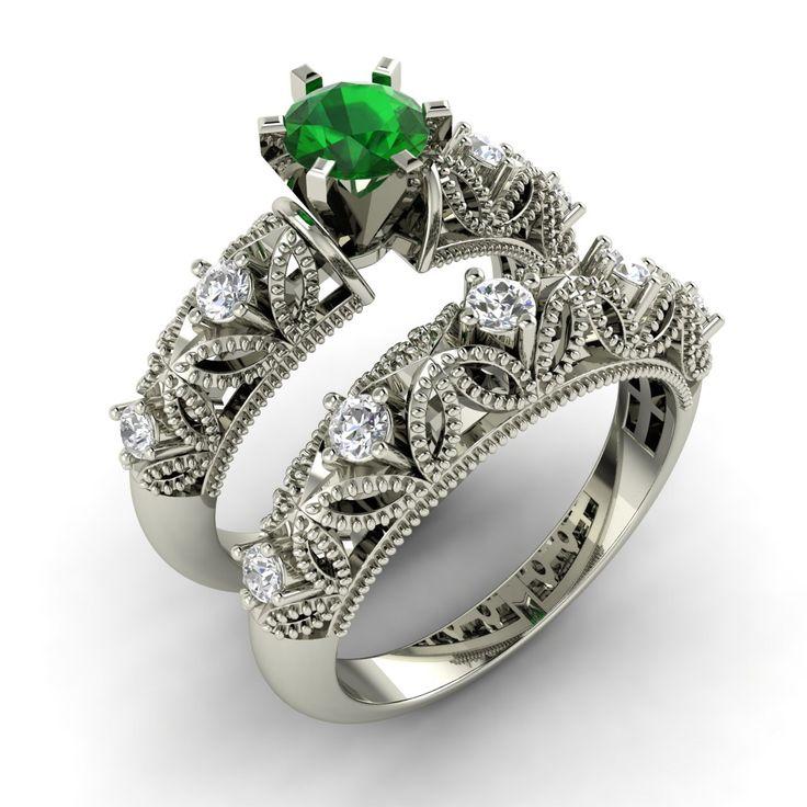 vintage diamond engagement rings | emerald diamond ring vintage engagement ring with emerald and diamond ...