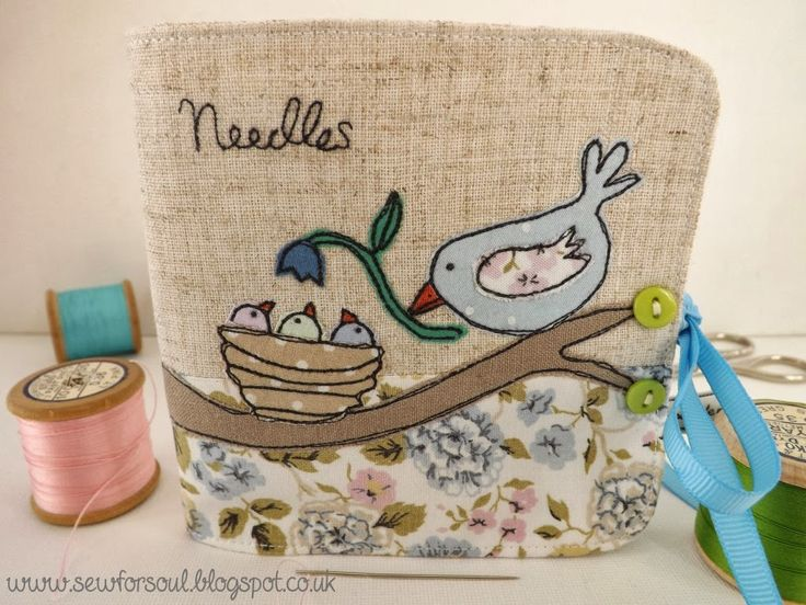 Sewforsoul: Freehand / free motion embroidered needle book with raw edge applique.  Free style machine embroidery script