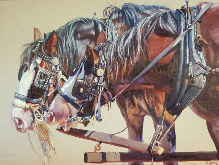 'Just one short straw.... please'. Oil on linen.  Original artwork by Kathy Ellem. #drafthorsefineart