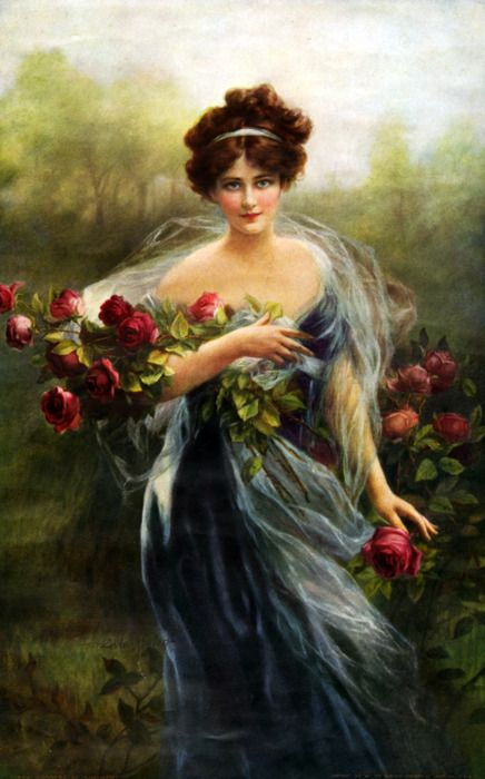 Beautiful painting of woman carrying red roses.