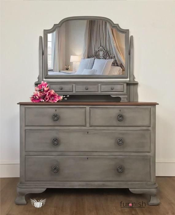 Sold Antique Victorian Chest Of Drawers With Mirror Vanity Set