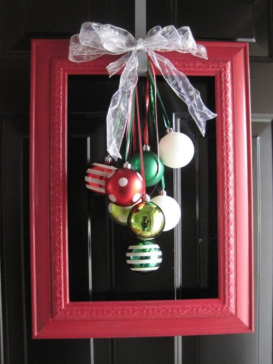 Alternative to Christmas wreath for the front door!: Easy Christmas Wreath, Christmas Wreaths, Idea, Unique Wreath, Christmas Decoration, Picture Frame Wreath