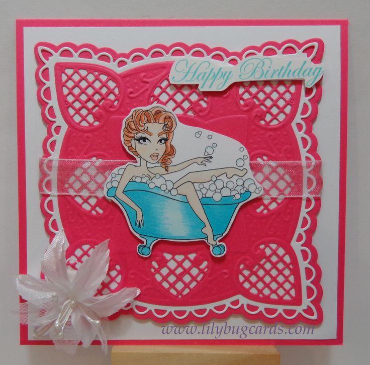 Sassy digital put on die cuts for a bright feminine card.