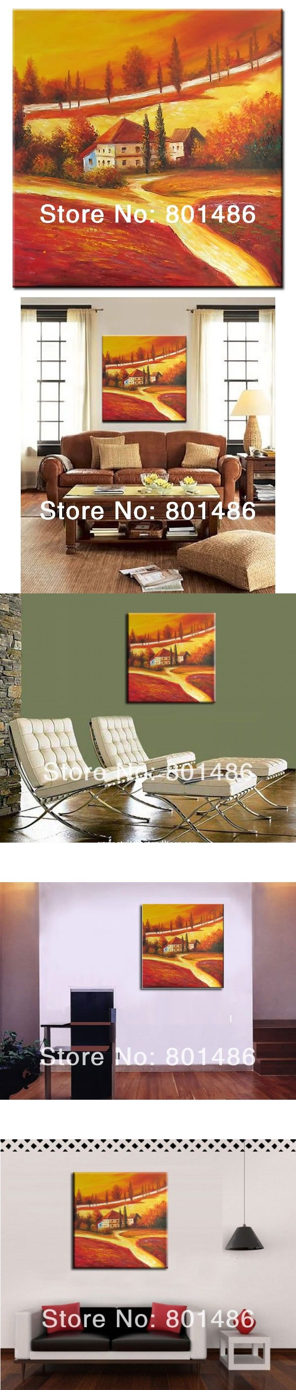 Free shipping! Poppies field landscape oil painting on canvas,high-quality abstract modern home decoration $55.9