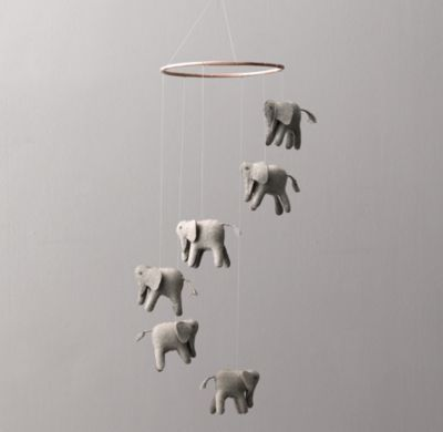 Restoration Hardware Baby Wool Felt Elephant Mobile $59
