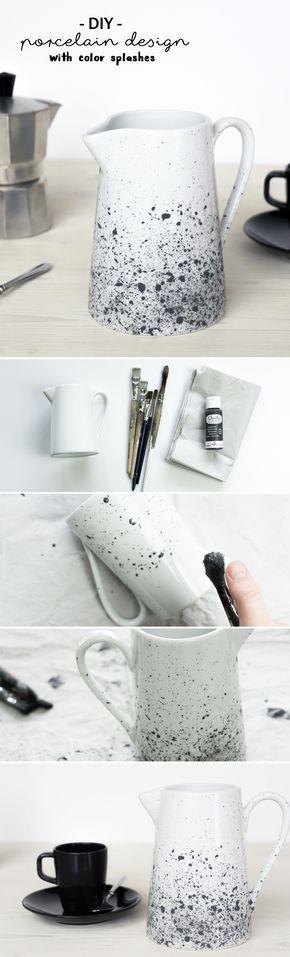 DIY Porzellan bemalen: Milchkrug mit Farbsprenkeln gestalten & den Oster Tisch aufhübschen | Do it yourself | Handmade | Porzellanmalerei | Geschirr gestalten | Kanne | Keramik | schwarz weiß | monochromes Design | Pinsel und Farbe | Kreidefarbe | spülmaschinenfest | Besprenkeln | Farbtupfer | Spritzer | diy tableware | porcelain painting | crafting | Anleitung | Tutorial | idea | chalkpaint | monochrome | skandinavisch | scandinavian | color splashes | Tasse bemalen | milk pot...