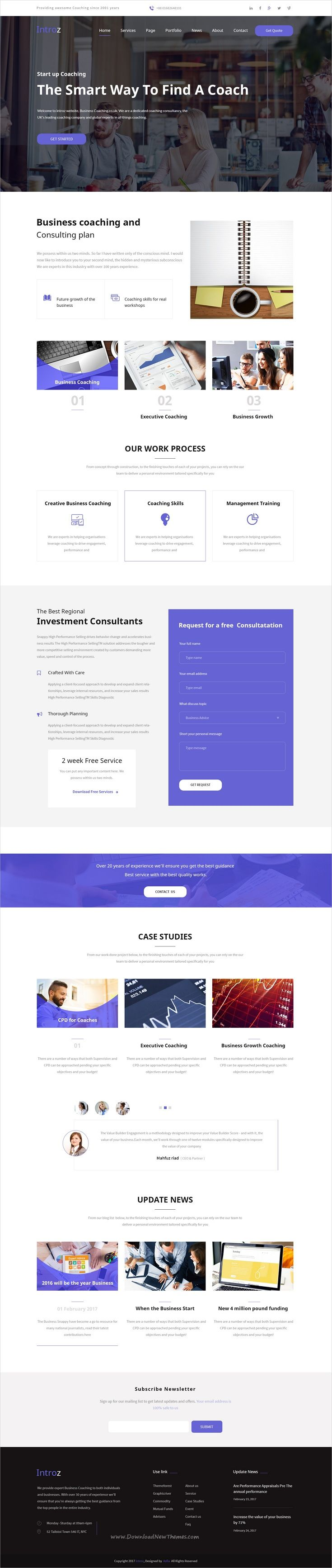 Introz is clean and modern design #PSD template for business, #coaching and training #consultancy website with 14 layered PSD files download now..