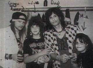 Axl Rose of Guns N' Roses, Steven Tyler and his children.