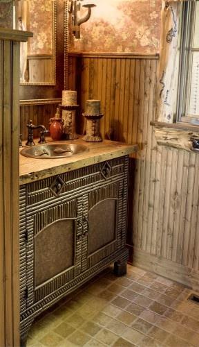"Travertine ""hardwood"" for bathroom counter: Bathroom Design, Guest Bathroom, Design Ideas, Rustic Bathroom, Rustic Style, Bathroom Powder, Bathroom Ideas, Bathroom Idead, Powder Rooms"