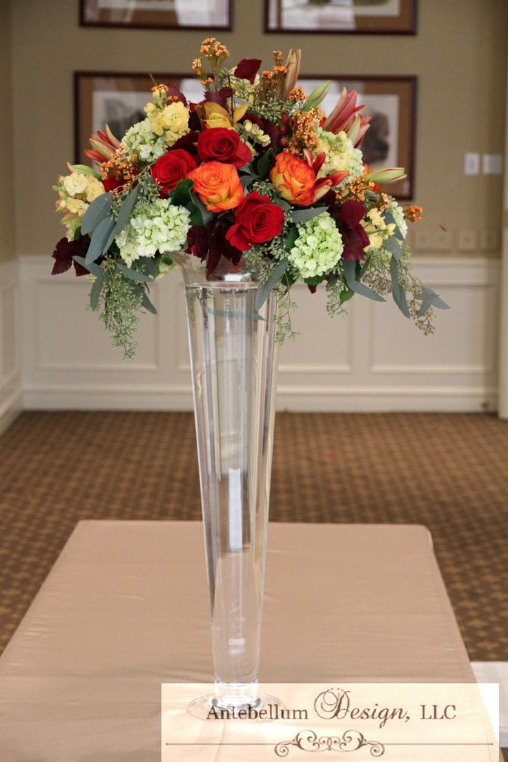 121 best tall centerpieces images on pinterest center pieces fall wedding flowers in tall clear vase by antebellumdesign reviewsmspy