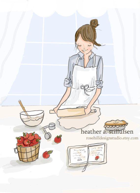 De mi serie Hola fin de semana otoño en la cocina evoca la sensación de pastel de manzana horneado en una mañana de otoño crujiente. Perfecto para colgar en tu despensa cocina o mayordomos.   trataba mano dibujado a lápiz y tinta y color digital * Se trata de una impresión de mi ilustración original. * Impresos en papel archival. * Ella vendrá firmada y fechada por mí, el artista  Aquí está lo que dice la gente sobre el trabajo de Heather  Tan delicado y bonito  Bellas imágenes y palabras…