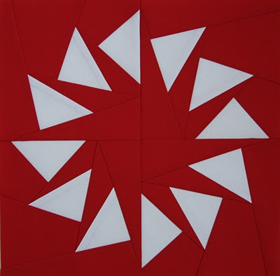 paper pieced block -could vary this to make a snowflake pillow