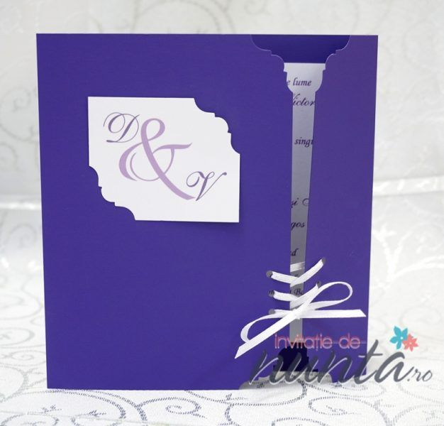 Invitatie de nunta Fancy Purple, un model elegant de culoare mov vibrant.