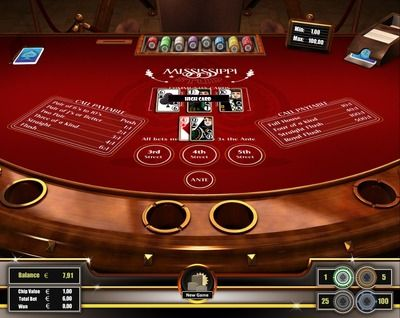 Mississippi Stud Poker is a challenging 5-card draw stud poker variant. It is mainly offered on several river boat casinos. The game-play it self is simple and easy to learn. But to develop the right strategy (when to raise and fold) requires a lot of skill. Wins are solely based on the player's final 5-card combination which needs to qualify according to the paytable for a winning hand. Register here to play http://casino-goldenglory.com/