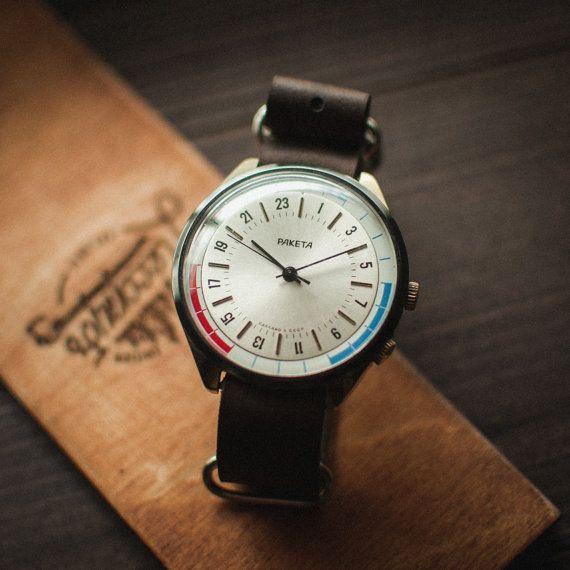 Rare Raketa 24 hours, vintage men's watch, mechanical soviet wrist watch, gift for him, leather NATO strap