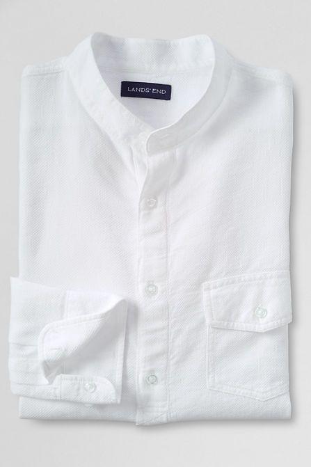 As sees in Bloomberg Businessweek (August 2015) - Men's Slim Fit Garment Dye Banded Collar Shirt