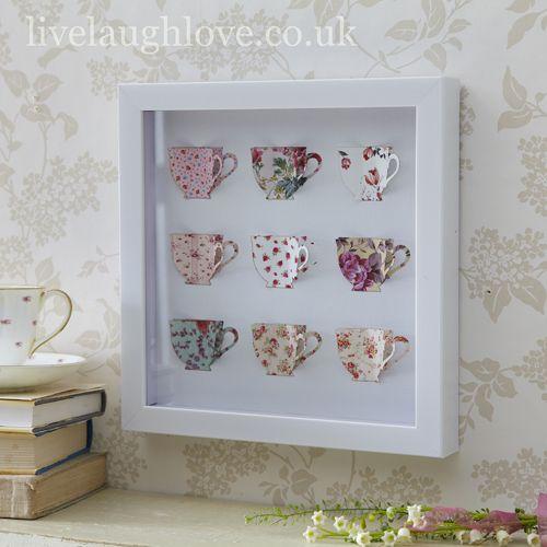 Box Framed Paper Art Picture-Teacups