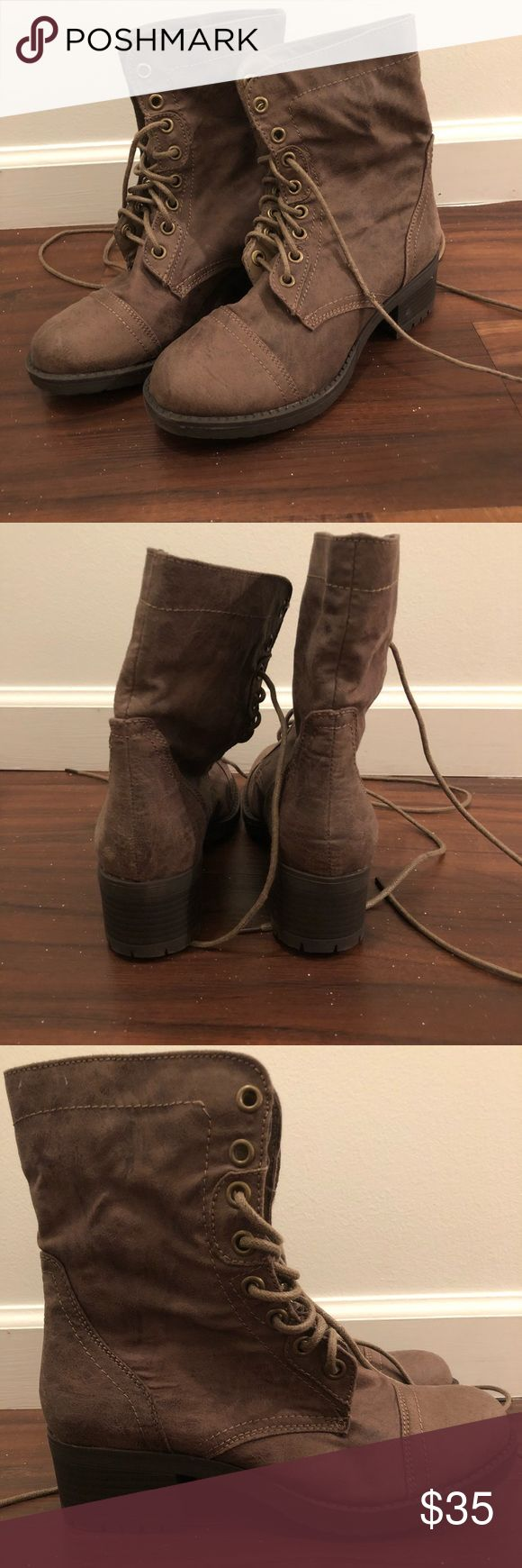 Brown Combat boots women size 6 Brand new Brown, light material Never worn Size 6  Open to offers JustFab Shoes Combat & Moto Boots