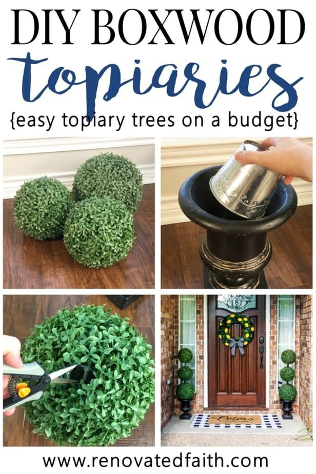 Diy Topiary Trees On A Budget Making Diy Large Outdoor Topiary Trees Is So Easy And Much Easier Than The Ones Outdoor Topiary Diy Front Porch Topiary Trees