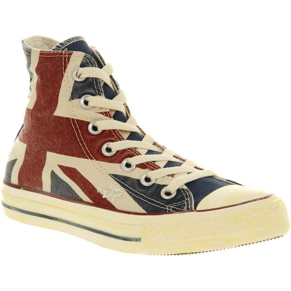Converse All Star Hi ($33) ❤ liked on Polyvore featuring shoes, sneakers, all star, sapatos, vintage union jack exclusive, laced up shoes, converse high tops, converse shoes, star shoes and high top trainers