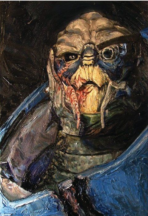 oil painting of my fave character from Mass Effect - Garrus - [THAT IS ART-- THAT IS BEAUTY.]