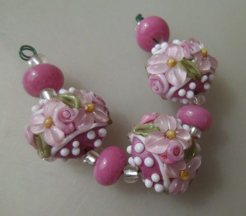 BLISS Pink Orchid Wild Blossom Floral Ribbon Lampwork Lentil Bead Trio | blissfulgardenbeads - Jewelry on ArtFire