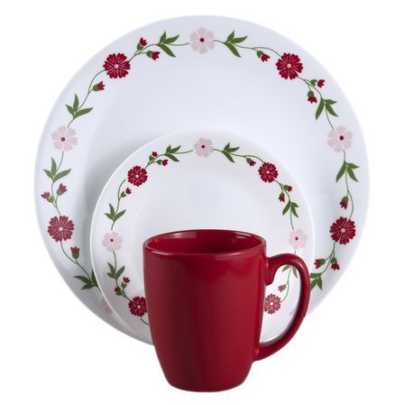#Corelle ® Livingware™ Spring Pink 16-pc Dinnerware Set - a charming, but simple, floral dinnerware design in red and pink. The casual feel paired with solid red mugs makes this delicate design great for everyday living. // click through to shop.