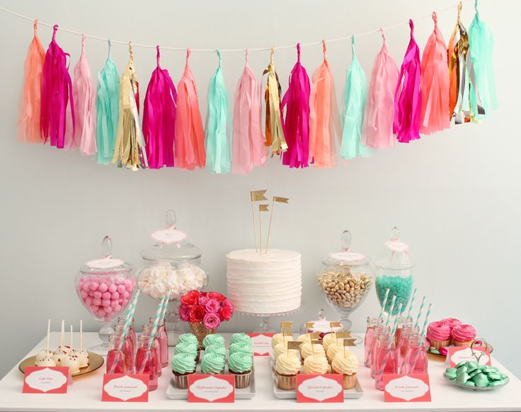 garland tassle party: Dessert Tables, Candy Bars, Sweet, Sweet Tables, Color, Wedding, Party Ideas, Birthday Party
