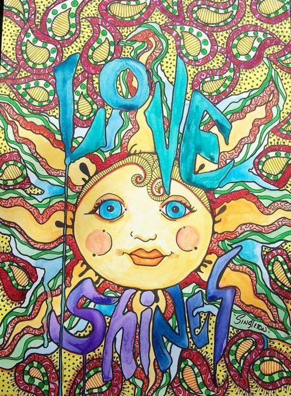 Singleton Hippie Art Original Love Shines by justgivemepeace, $95.00