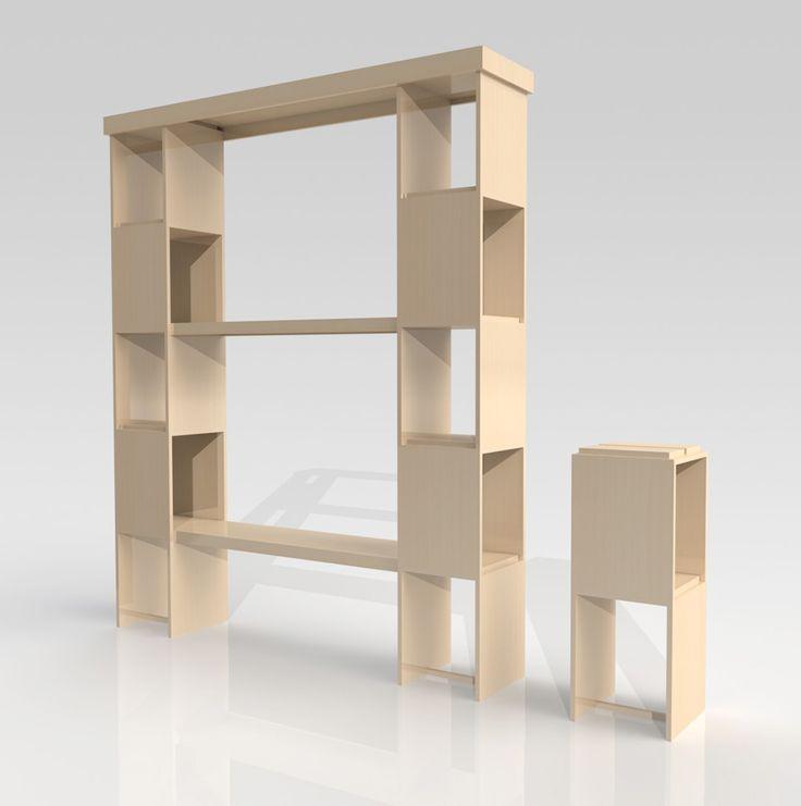 Cubes Tip Top - Système d'éléments superposables et encastrables assurant une grande stabilité des ensembles. Les meubles bougent et changent au gré de vos besoins et envies.. Et deviennent : bureau, console, étagère, bibliothèque.. Medium, plaqué chêne, vernis, blanchi.