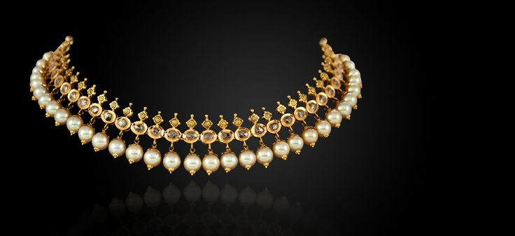 Diamond and pearl gold Indian choker/necklace