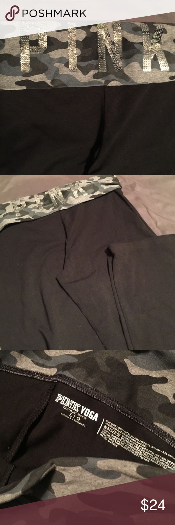 PINK By Victoria's Secret Bootcut Foldover Legging Size L PINK Camo Foldover bootcut leggings. You can't even find foldover bootcut leggings on PINK.com right now! Never been worn!!! PINK Victoria's Secret Pants Leggings